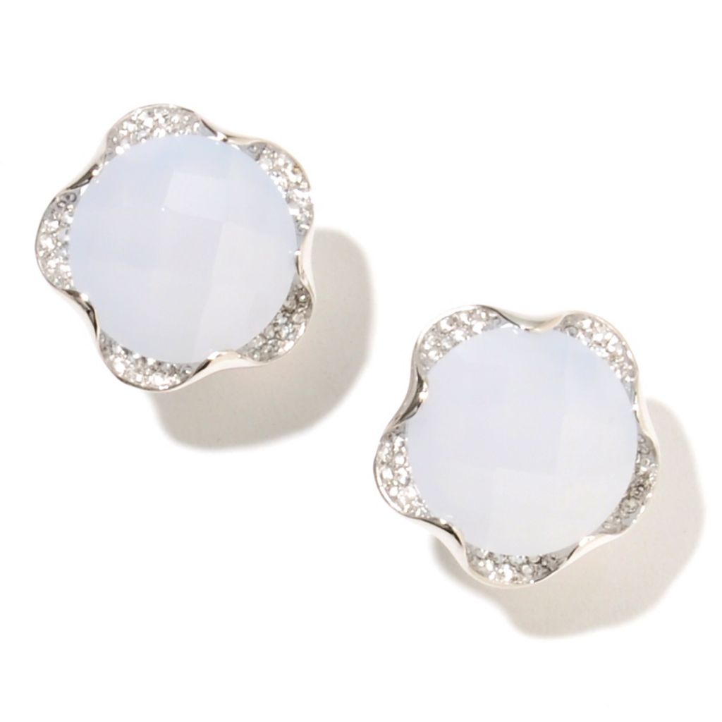 133-048 - Gem Insider Sterling Silver 16mm Chalcedony & White Topaz Flower Earrings