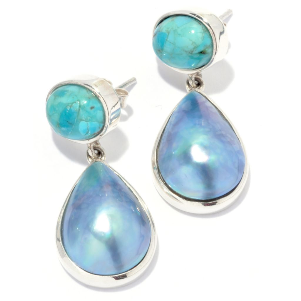 133-051 - Gem Insider Sterling Silver 18 x 12mm Mabe Cultured Pearl & Turquoise Earrings