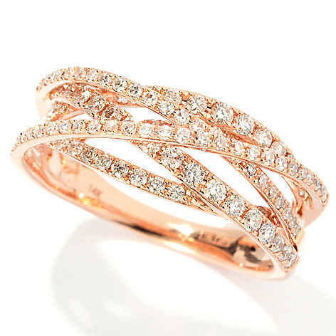 133-056 - Effy 14K Rose Gold 0.65ctw Round White Diamond Crossover Ring