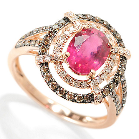 133-061 - Effy 14K Rose Gold 1.93ctw Innova™ Ruby, Mocha & White Diamond Double Halo Ring