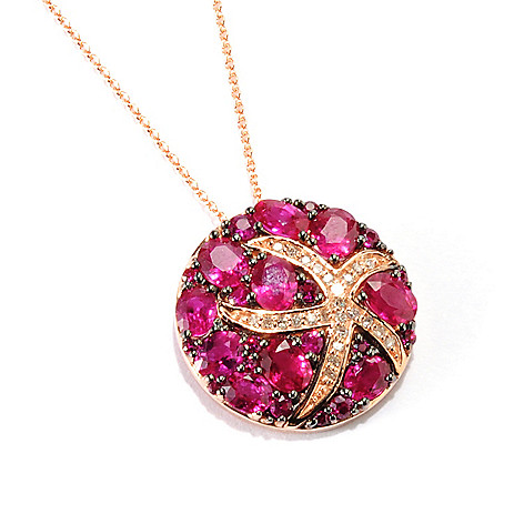 "133-064 - Effy 14K Rose Gold 4.16ctw Innova™ Ruby & Diamond Starfish Pendant w/ 18"" Chain"