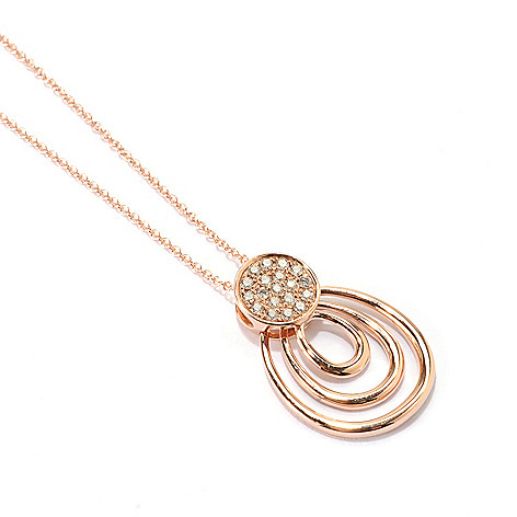 "133-065 - Effy 14K Rose Gold 0.17ctw Diamond Circle & Loop Pendant w/ 18"" Chain"