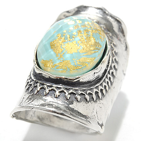 133-066 - Passage to Israel Sterling Silver 18 x 13mm Quartz & Gold Leaf Triplet Ring