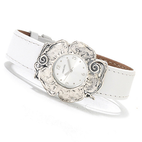 133-067 -  Passage to Israel Women's 8.5'' Stainless Steel Leather Strap Flower Watch