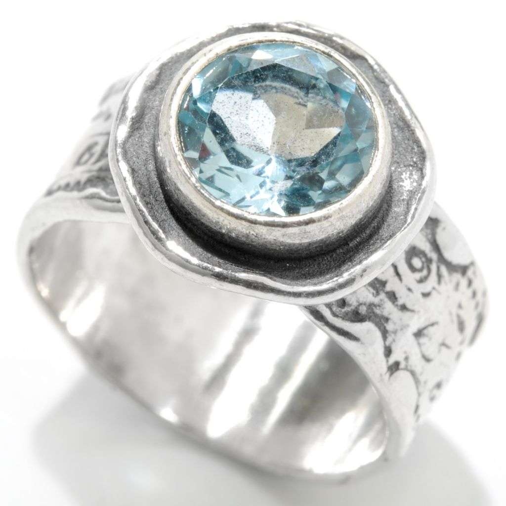 133-069 - Passage to Israel Sterling Silver 8mm Round Gemstone Textured Ring