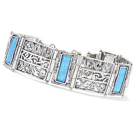 133-078 - Passage to Israel Sterling Silver 15 x 5mm Simulated Opal Scrollwork Station Bracelet