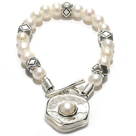 133-079 - Passage to Israel Sterling Silver 7.5-8mm Freshwater Cultured Pearl Toggle Bracelet