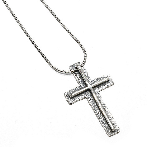 133-080 - Passage to Israel Sterling Silver Layered Cross Pendant w/ 18'' Chain