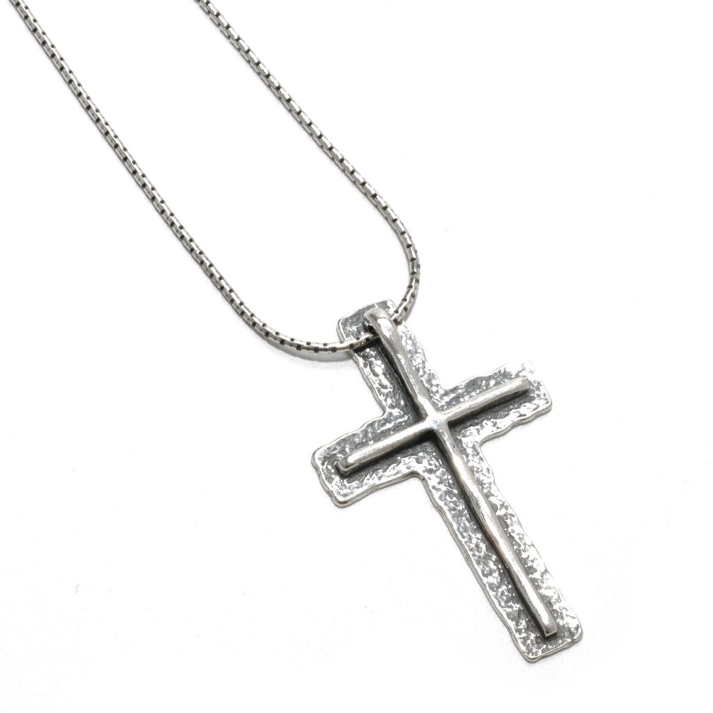 "133-080 - Passage to Israel Sterling Silver Layered Cross Pendant w/ 18"" Chain"