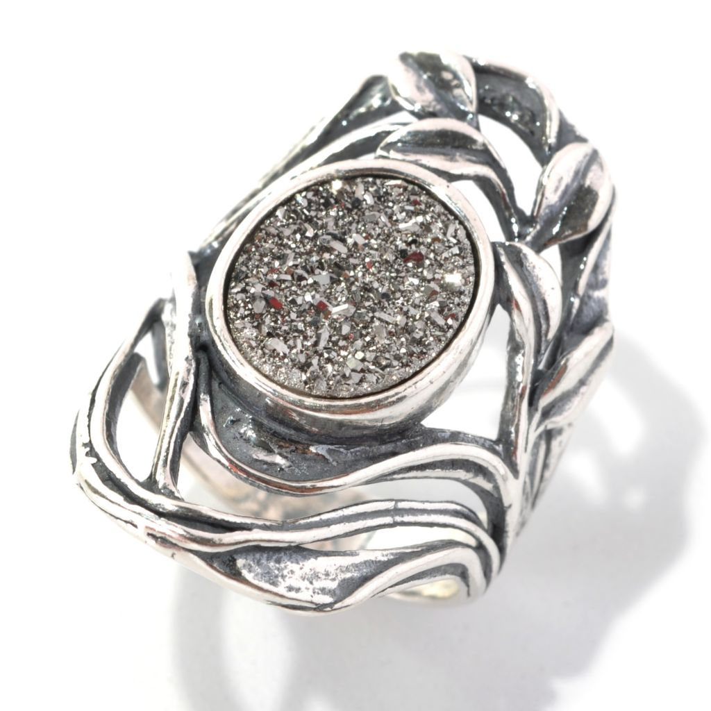 133-083 - Passage to Israel Sterling Silver 12 x 10mm Silver Drusy Elongated Openwork Leaf Ring