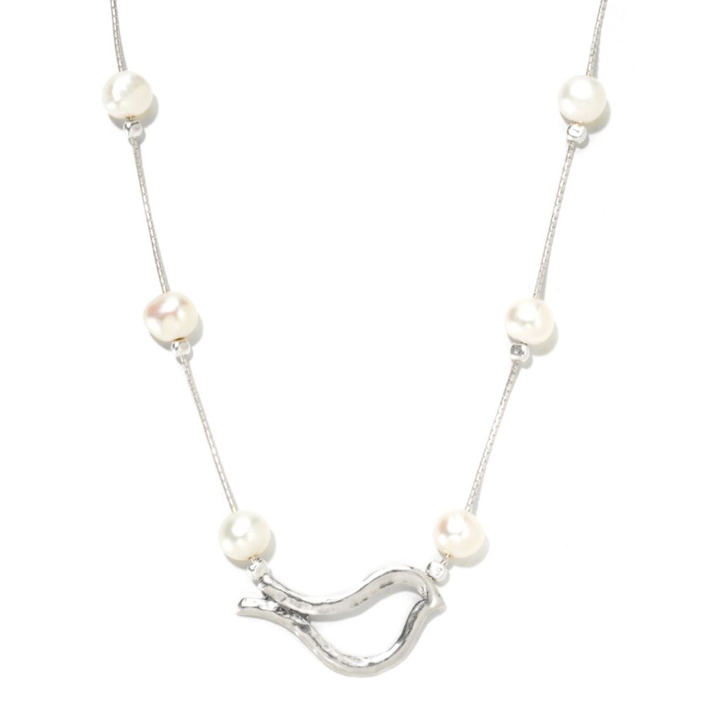 "133-084 - Passage to Israel Sterling Silver 18"" 7-8mm Freshwater Cultured Pearl Openwork Bird Necklace"