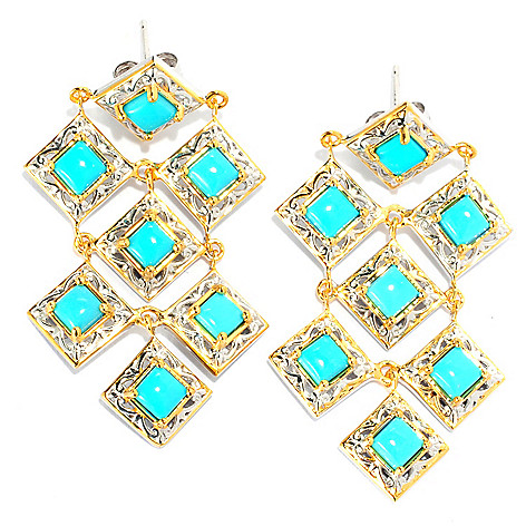 133-086 - Gems en Vogue II 1.75'' Sleeping Beauty Turquoise Chandelier Earrings