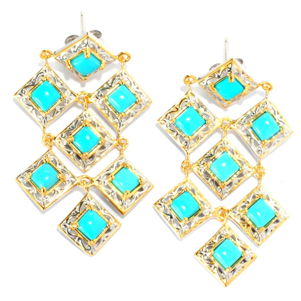 "133-086 - Gems en Vogue II 1.75"" Sleeping Beauty Turquoise Chandelier Earrings"