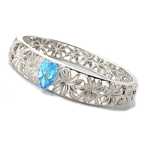133-090 - Effy Sterling Silver 7'' 5.25ctw Blue Topaz Balissima Hinged Bangle Bracelet
