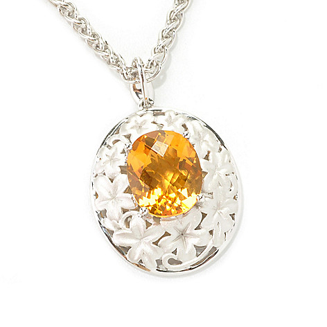"133-091 - Effy Sterling Silver 4.50ctw Gemstone Floral Balissima Pendant w/ 18"" Chain"