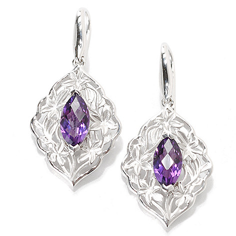 133-092 - Effy Sterling Silver 1.25'' 1.40ctw Amethyst Balissima Drop Earrings