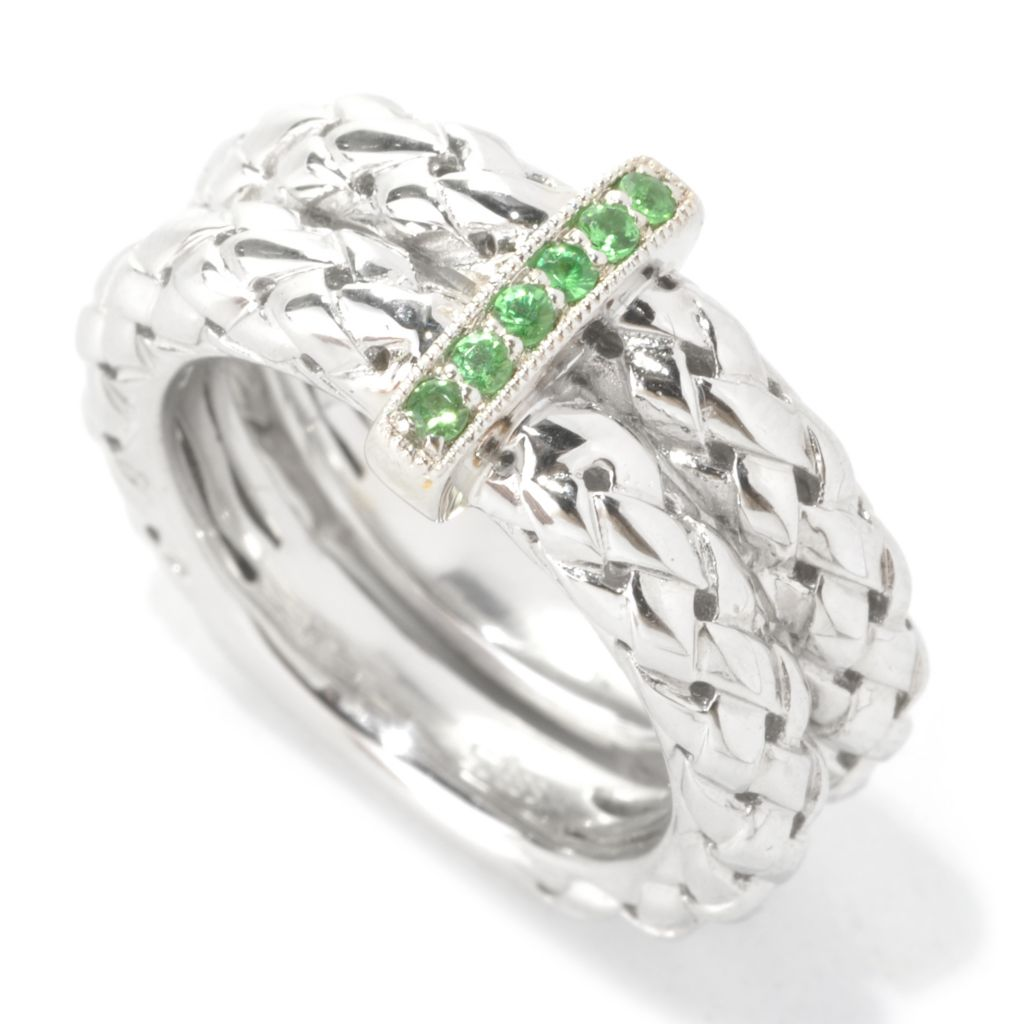 133-096 - Effy Sterling Silver Tsavorite Woven Double Band Balissima Ring