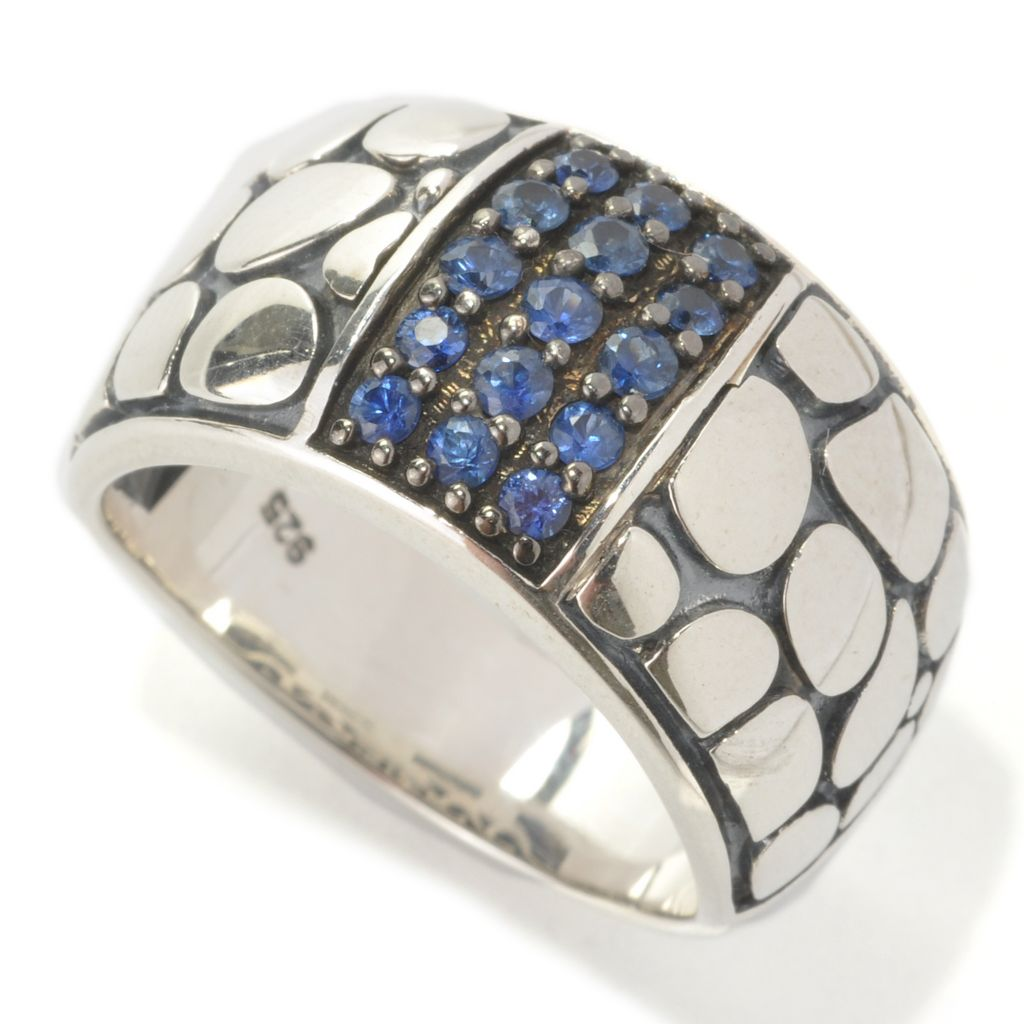 "133-097 - Effy Sterling Silver Round Sapphire Pebblestone ""Balissima"" Ring"