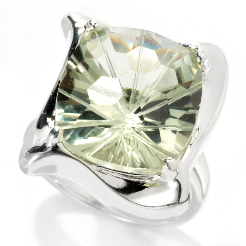 133-104 - SempreSilver® 10ctw Cushion Cut Prasiolite Polished Ring