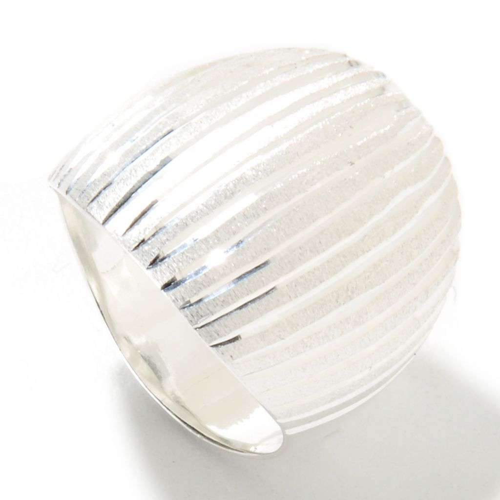 133-105 - SempreSilver® Polished & Satin Finished Wide Dome Ring
