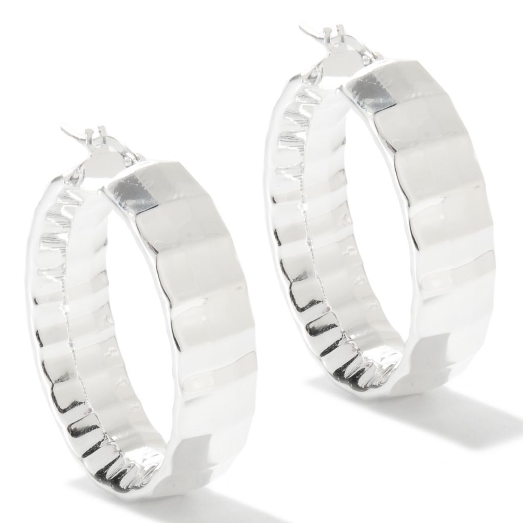 "133-108 - SempreSilver® 1.5"" Checkerboard Pattern Polished Oval Hoop Earrings"