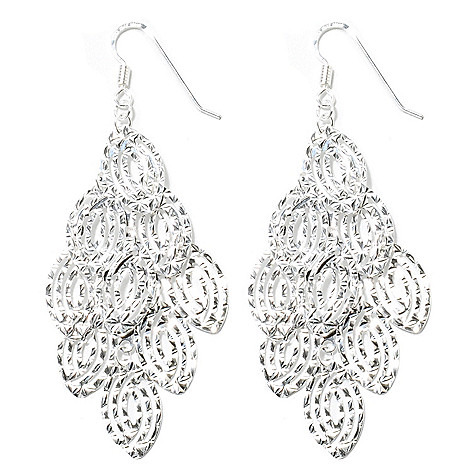 133-109 - SempreSilver® 1.75'' Diamond Cut Layered Marquise Dangle Earrings