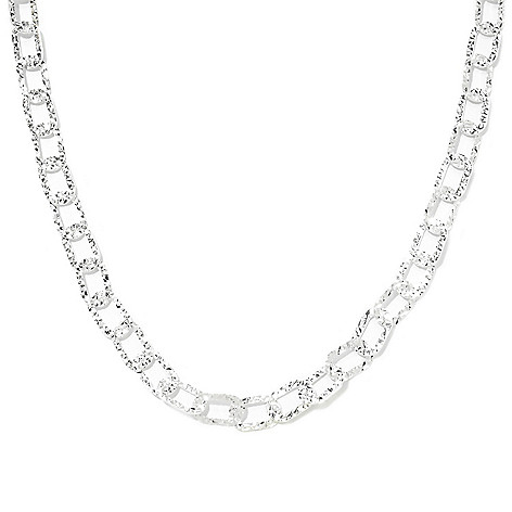 133-112 - SempreSilver® 17.5'' Polished & Diamond Cut Oval Link Necklace w/ 2'' Extender