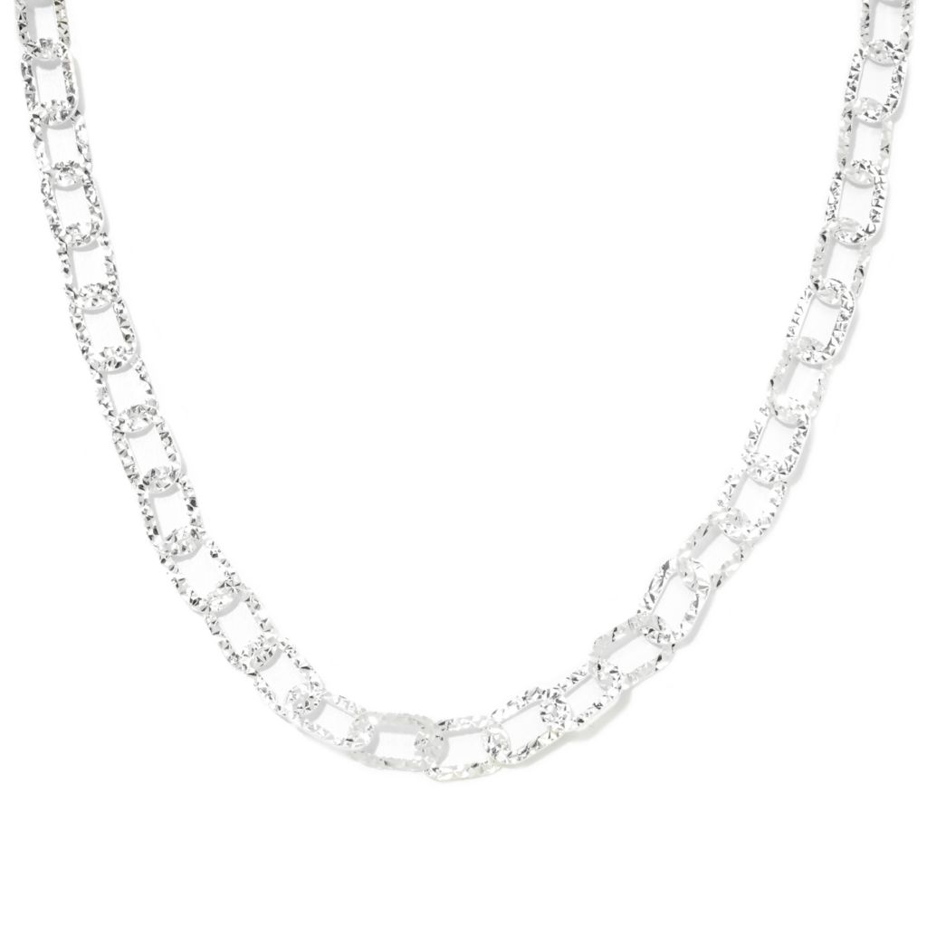 "133-112 - SempreSilver® 17.5"" Polished & Diamond Cut Oval Link Necklace w/ 2"" Extender"