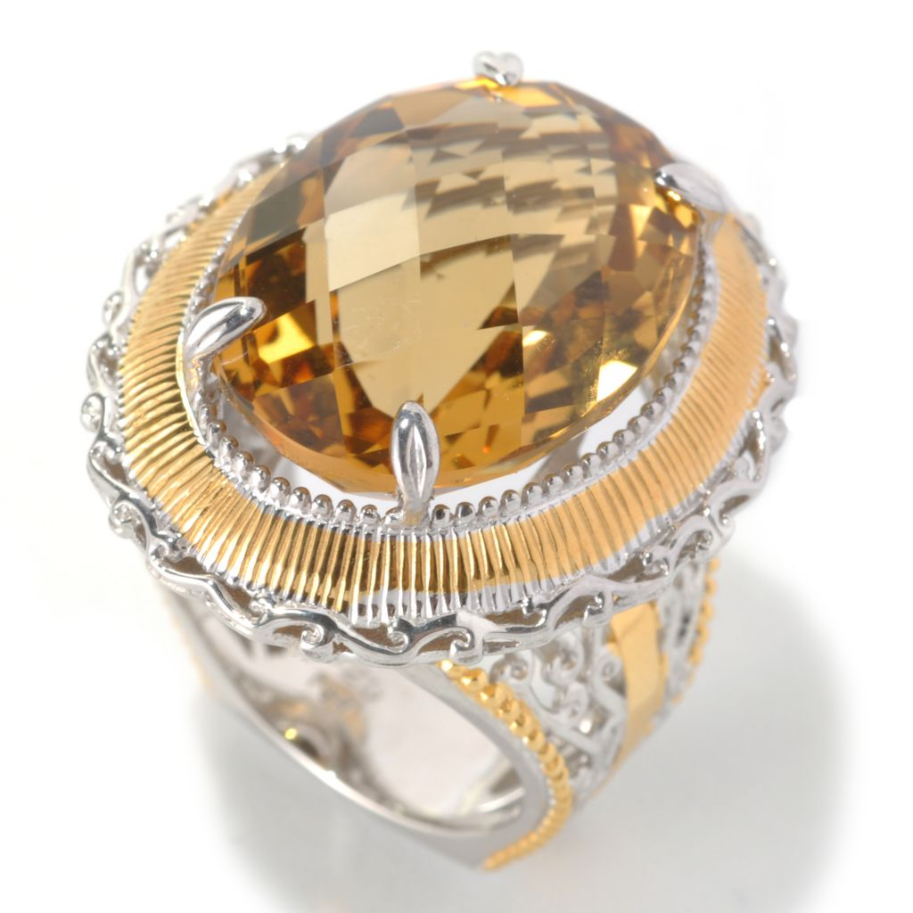 133-114 - Gems en Vogue II 20 x 15mm Oval Zambian Citrine North-South Ring