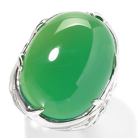 133-115 - Sterling Silver 24 x 18mm Oval Green Agate North-South Bamboo Ring