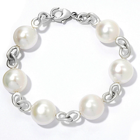 133-116 - Sterling Silver 7.75'' 14-15mm White Freshwater Button Cultured Pearl Bracelet