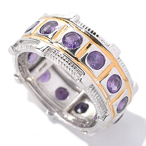 133-118 - Men's en Vogue II 2.47ctw Round African Amethyst Eternity Band Ring