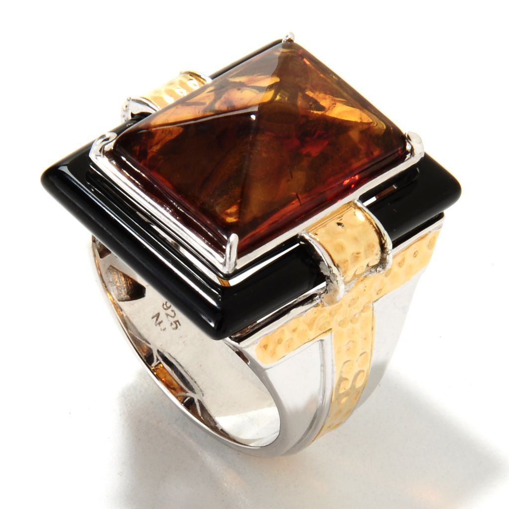 133-128 - Men's en Vogue II 18 x 13mm Pyramid Cut Baltic Amber & Onyx Ring