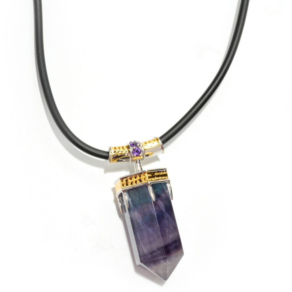 "133-129 - Men's en Vogue II 35 x 15mm Fluorite & Amethyst Hexagon Bullet Pendant w/ 22"" Rubber Cord"
