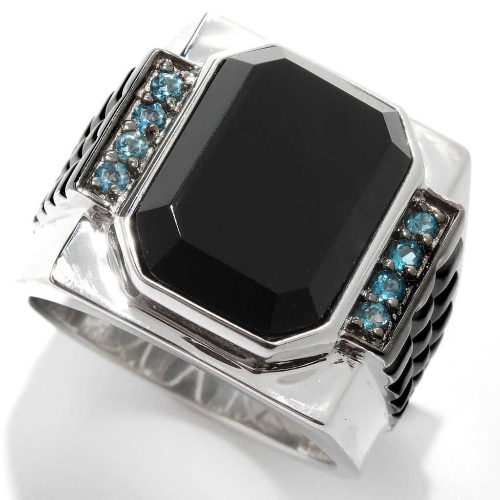 133-131 - Men's en Vogue 16 x 12mm Black Onyx & London Blue Topaz Studded Shank Ring