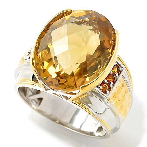 133-133 - Men's en Vogue 16.59ctw Oval Checkerboard Cut Zambian & Madeira Citrine Ring