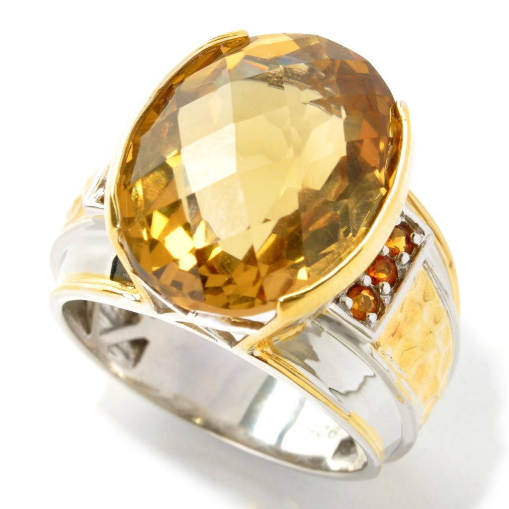 133-133 - Men's en Vogue II 16.59ctw Oval Checkerboard Cut Zambian & Madeira Citrine Ring