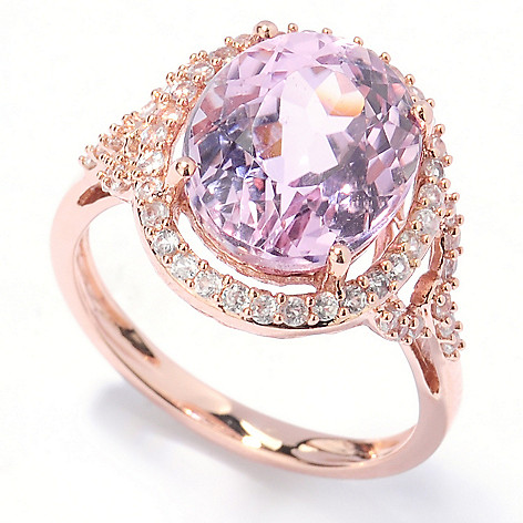 133-139 - Gem Treasures 14K Rose Gold 4.87ctw Kunzite & White Zircon Halo Cut-out Ring