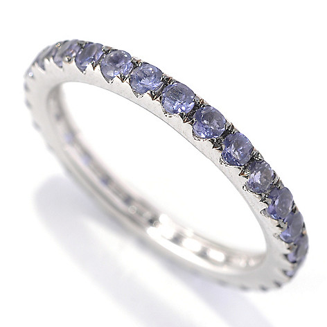 133-143 - Gem Treasures Sterling Silver Gemstone Pave ''Kellie Anne'' Eternity Band Ring
