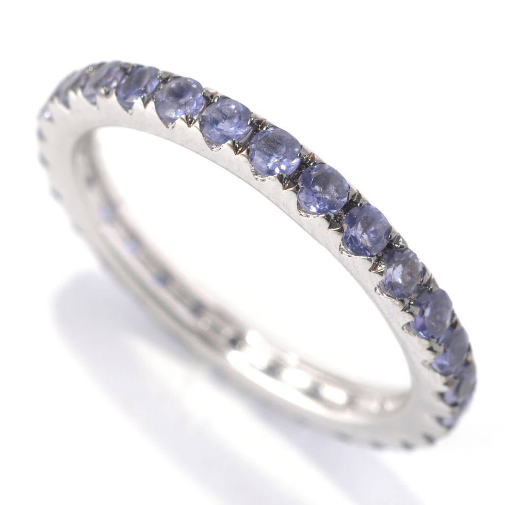 "133-143 - Gem Treasures Sterling Silver Gemstone Pave ""Kellie Anne"" Eternity Band Ring"