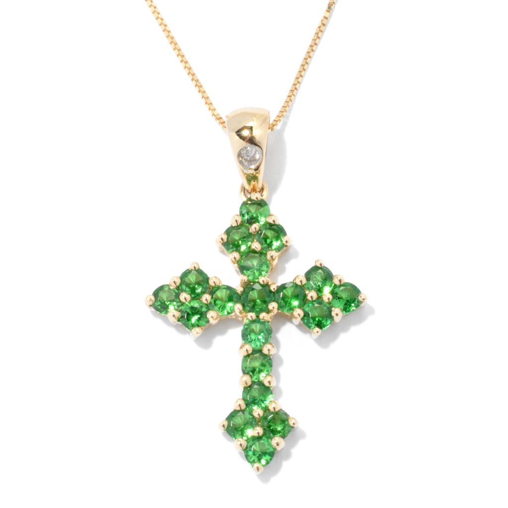 133-146 - Gem Treasures 14K Gold Tsavorite & Diamond Cross Pendant w/ Chain