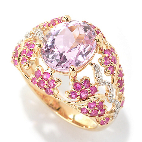 133-147 - Gem Treasures 14K Gold 5.10ctw Kunzite, Diamond & Pink Sapphire Scrollwork Ring