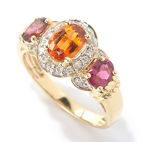 133-152 - Gem Treasures 14K Gold 1.71ctw Oval Spessartite, Rubellite & Diamond Halo Ring