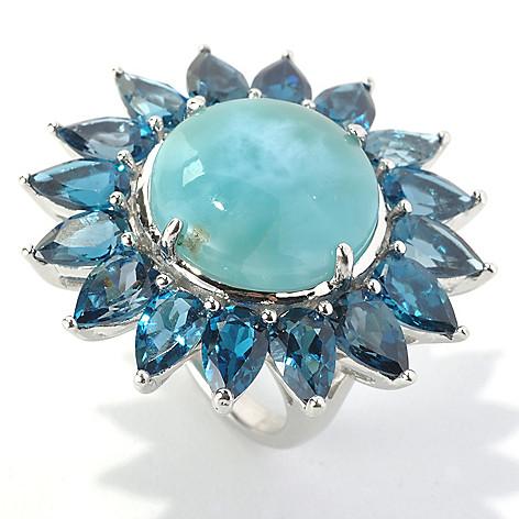 133-154 - Gem Insider Sterling Silver 18mm Larimar & London Blue Topaz Flower Ring