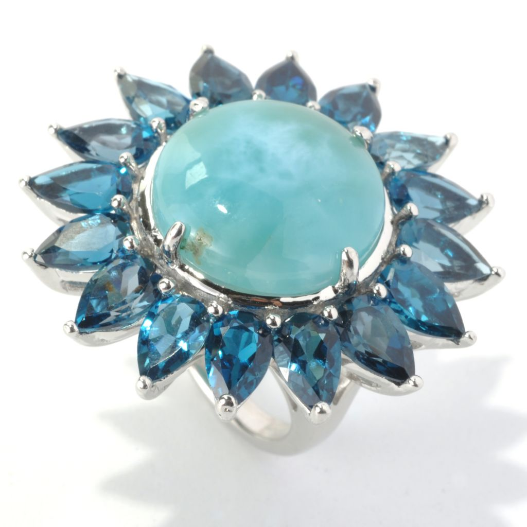 133-154 - Gem Insider Sterling Silver 18mm Larimar & London Blue Topaz Flower Ring