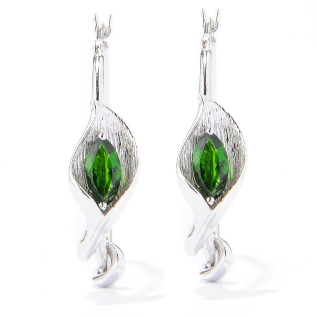 "133-158 - Gem Treasures Sterling Silver 1"" Chrome Diopside Calla Lily Hoop Earrings"