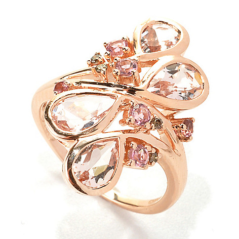 133-162 - Gem Treasures 14K Rose Gold 2.65ctw Morganite, Pink Tourmaline & Mocha Diamond Ring