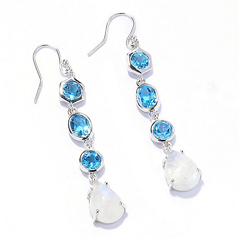 133-172 - Gem Insider Sterling Silver 1.75'' Swiss Blue Topaz & Rainbow Moonstone Earrings