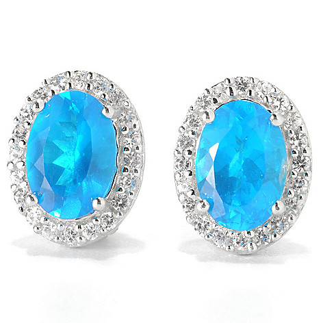 133-177 - Gem Treasures Sterling Silver 1.70ctw Neon Apatite & White Zircon Earrings
