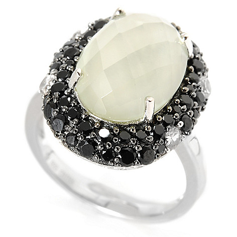 133-182 - Gem Treasures Sterling Silver 6.28ctw Spinel, White Zircon & Prasiolite Ring